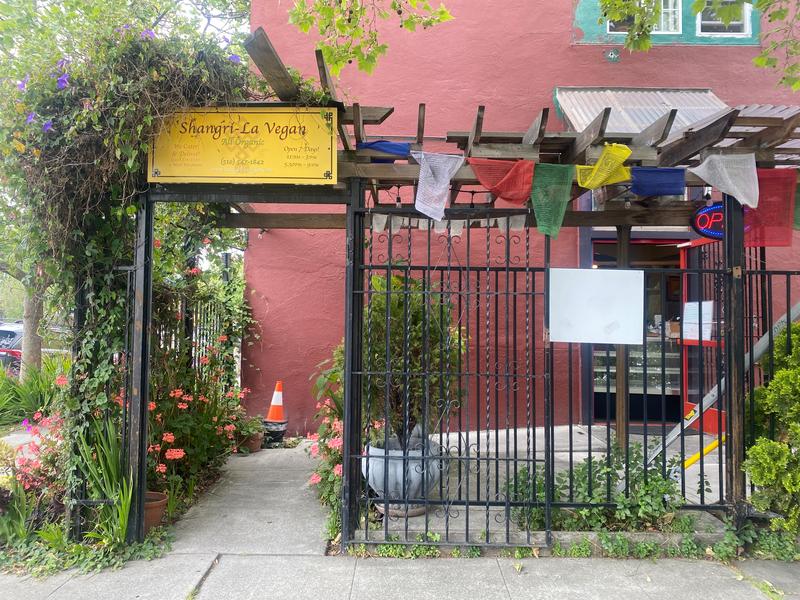 The exterior of Shangri-la Vegan on Linden Street in Oakland. Photo: Sarah Han