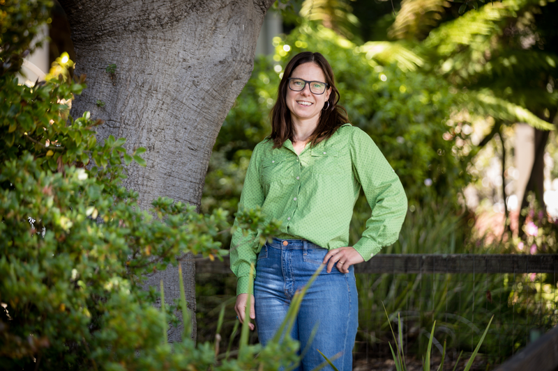 Journalist, author, and podcast creator Anna Sale poses for a photo outside her Berkeley home on May 11, 2021. Photo: Kelly Sullivan