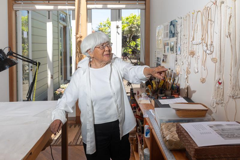 Fiber artist Kay Sekimachi in her Berkeley studio on May 10, 2021. Credit: Kelly Sullivan