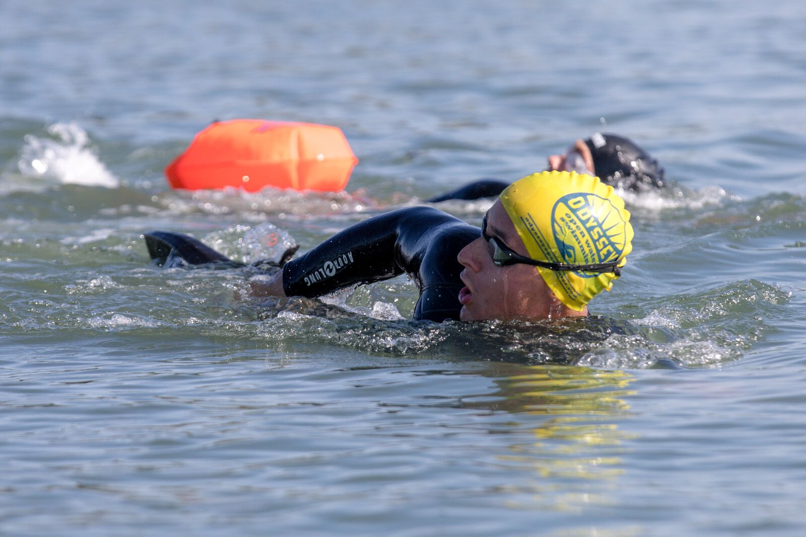 Odyssey open water swimming in the South Sailing Basin at the Berkeley Marina on September 19, 2021. Credit: Kelly Sullivan