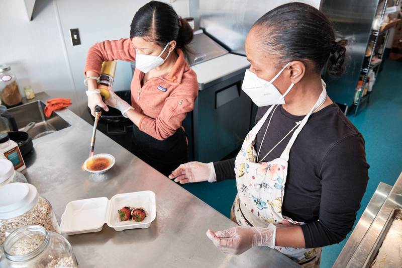 Mother daughter team Chef Meiko and Chef Kami of West Oakland vegan late night food spot Hella Nuts, March 23, 2021 Photo: Pete Rosos