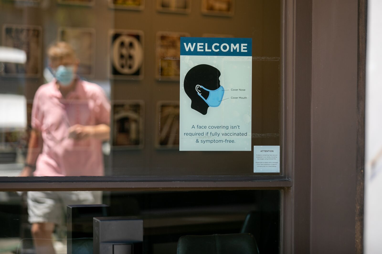 Peet's Coffee on Solano no longer requires customers to wear a face mask if they have been vaccinated, as of June 15, 2021. Credit: Kelly Sullivan