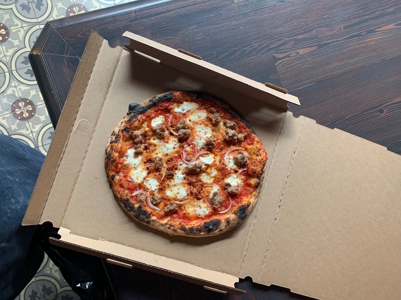 A sausage pizza from Rose Pizzeria in Berkeley. Credit: Rose Pizzeria
