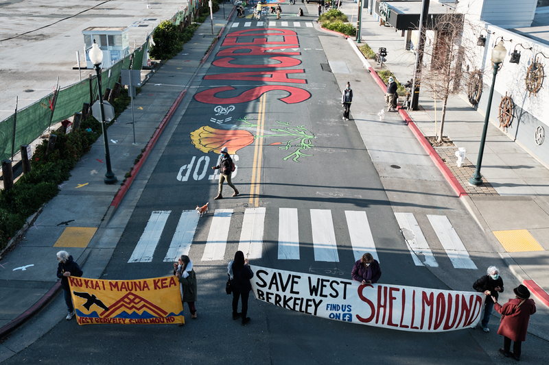 The Indian Organization for Change hold a gathering to save the West Berkeley Ohlone Shellmound on 4th Street. March 20, 2021 Photo: Pete Rosos