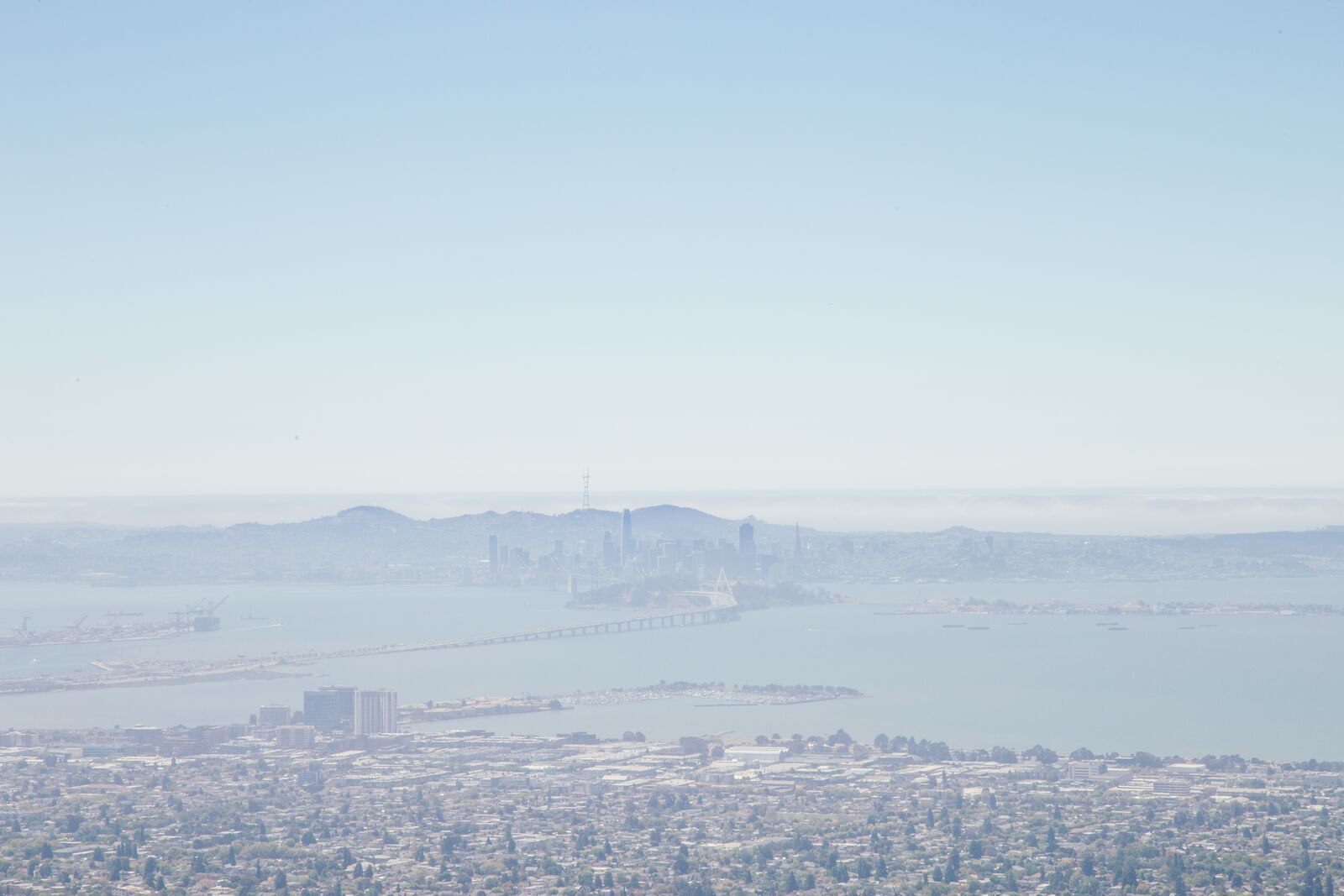 View of a the San Francisco Bay from the Berkeley Hills on August 10.