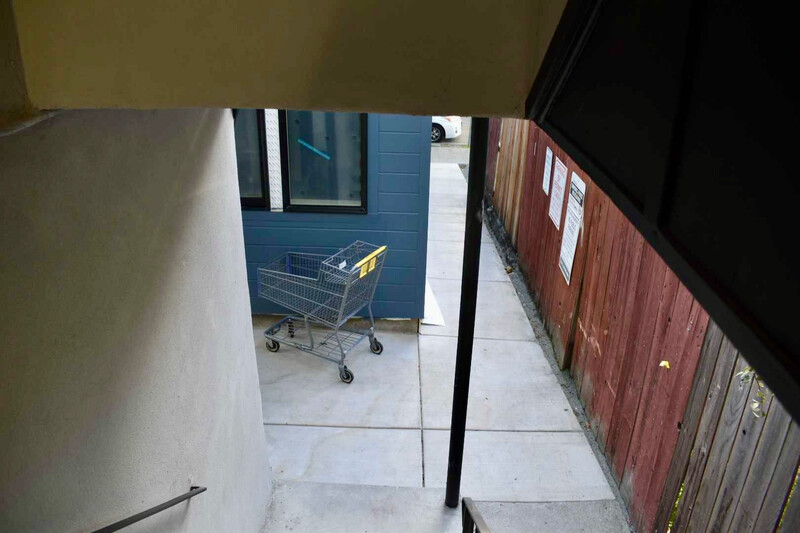 A view from behind stairs of the ADU on Harper Street in Berkeley