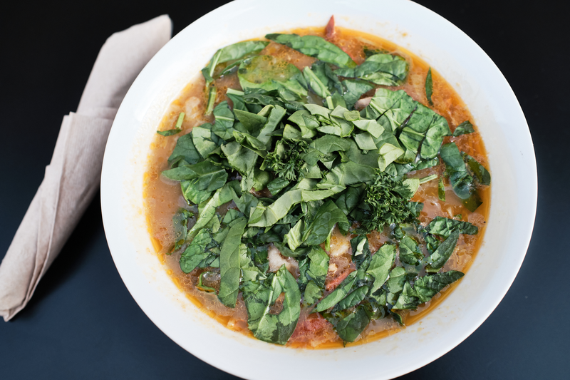 Then-thuk, hand-pulled flat pasta in broth from Cafe Tibet. Photo: Pete Rosos
