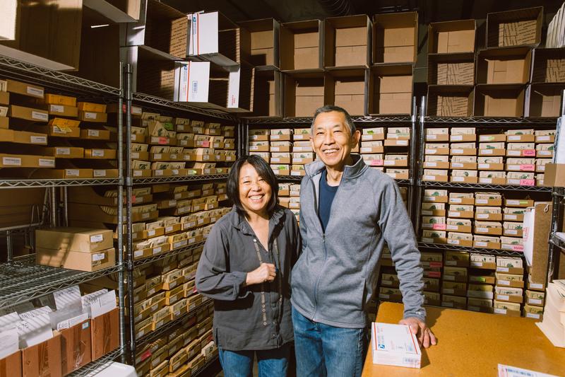 Maya Shiroyama with husband and co-owner Jim Ryugo at Kitazawa Seed Co's Jack London Square headquarters. Credit: Andria Lo
