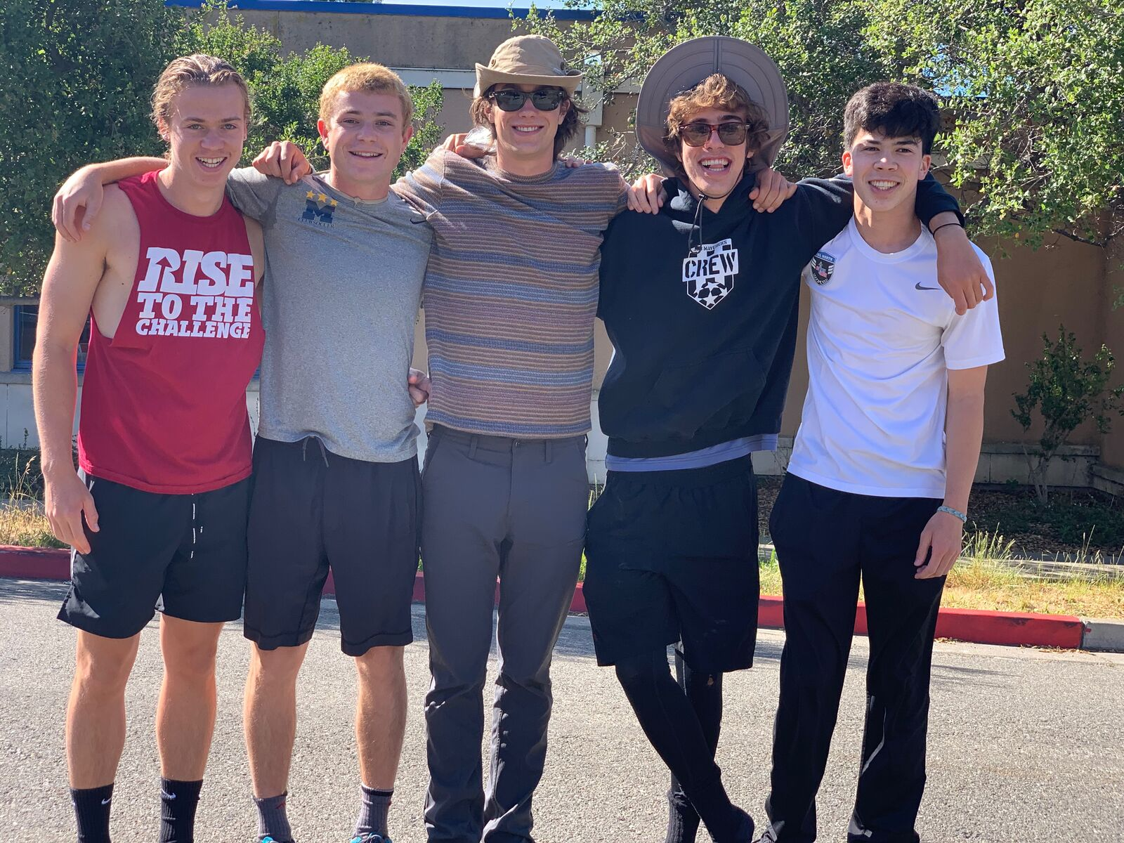 A tight-knit group of Berkeley friends has suffered two devastating losses this year. From left: Kinlay Watkins, Eli Kane, Jack Ferris, Seth Pierson, and Ross Schultz, who died in May.
