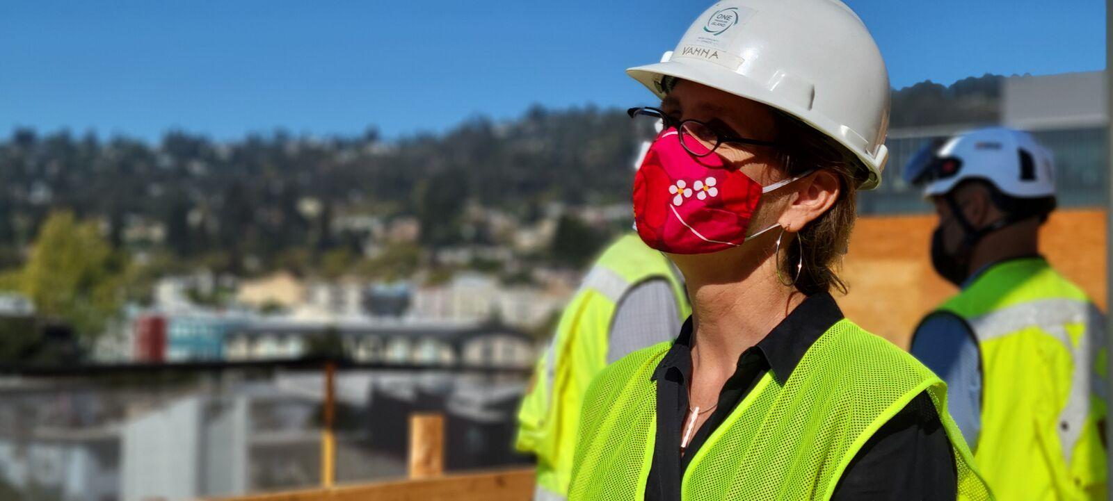 Mayor Jesse Arreguín tours the Berkeley Way construction on Sept. 9, 2021.