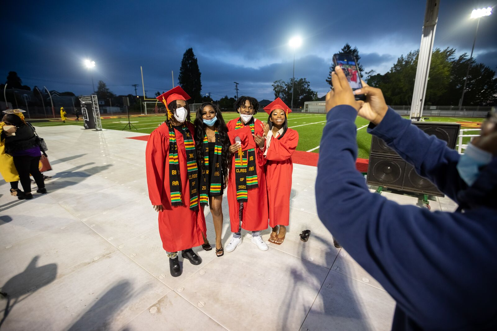 Graduates pose for a photo following the Celebration of Black Excellence ceremony at Berkeley High School on June 4, 2021. Credit: Kelly Sullivan