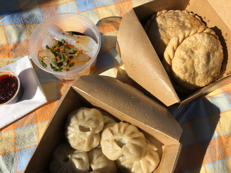 Some of Nomad's Tibetan specialties (from top left going clockwise): laphing, shabaley and momos. Photo: Shirley Huey