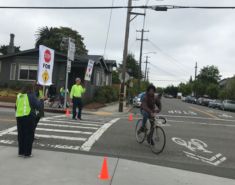 A safe crossing event held by Walk Bike Berkeley at the intersection of California Street and Dwight Way on May 8, 2019.