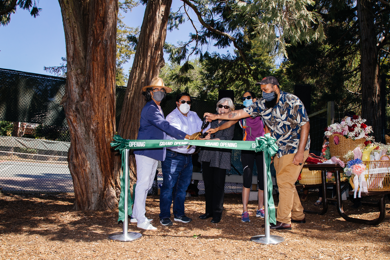 (Left to Right) Deputy City Manager Paul Buddenhagen, Mayor Jesse Arreguin, Councilwoman Susan Wengraf, Councilwoman Rashi Kesarwani, and Councilman Terry Taplin cut the ribbon to celebrate the re-opening of the Berkeley Rose Garden on May 8, 2021