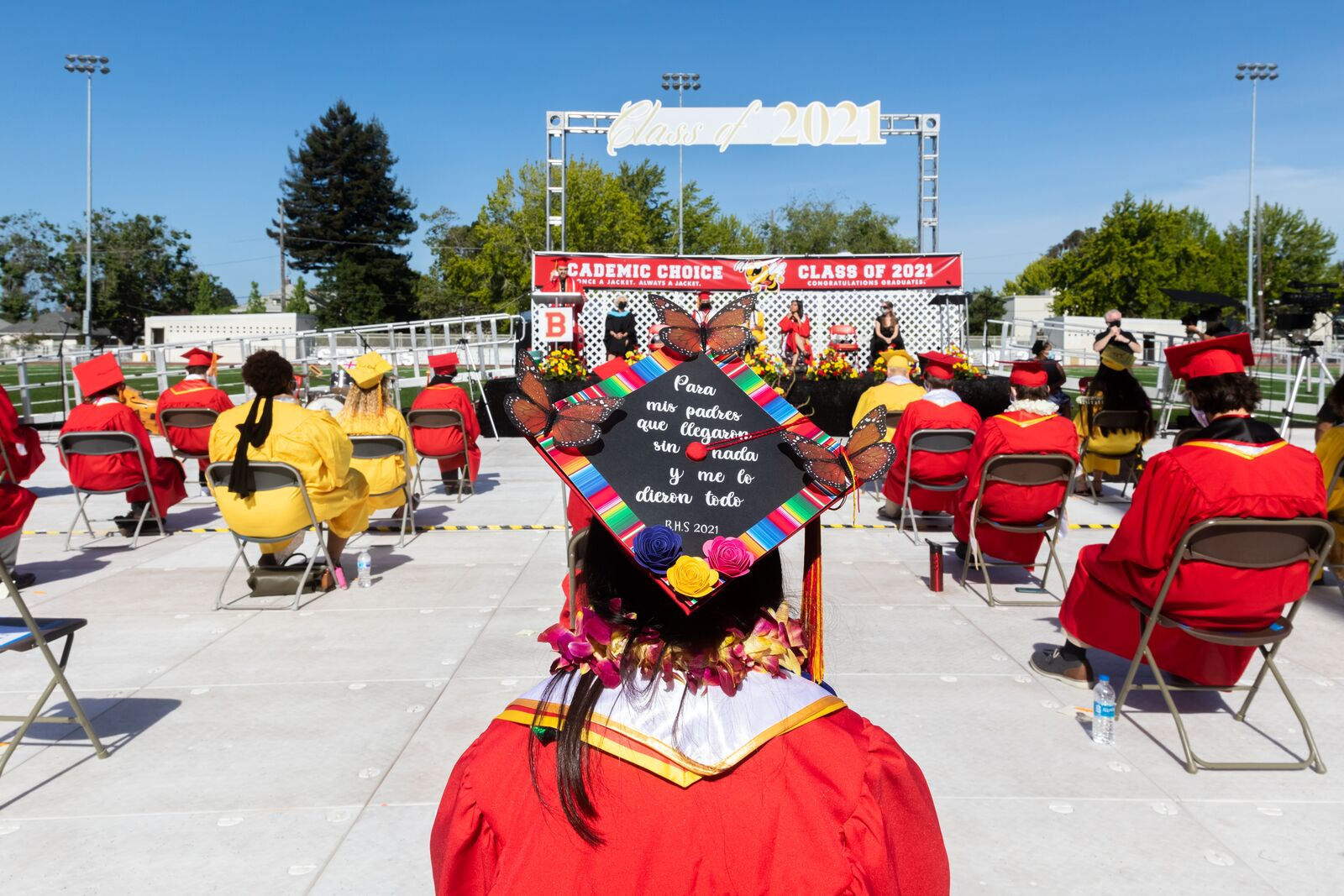 Seniors wear decorated caps during the Academic Choice graduation ceremony at Berkeley High School on June 5, 2021. Credit: Kelly Sullivan