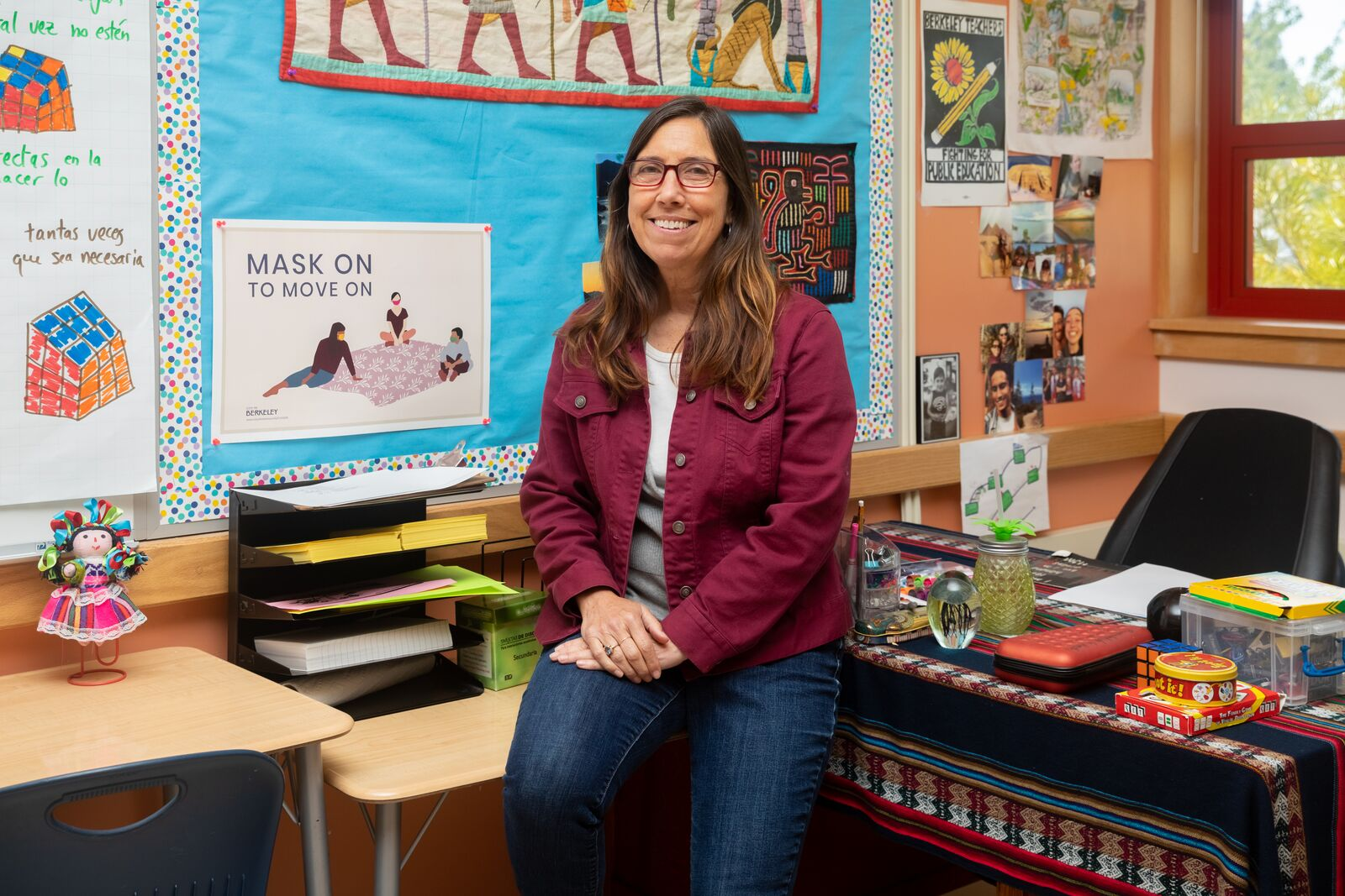 Mary Patterson poses for a photo in her classroom at Longfellow Middle School on June 1, 2021. Credit: Kelly Sullivan