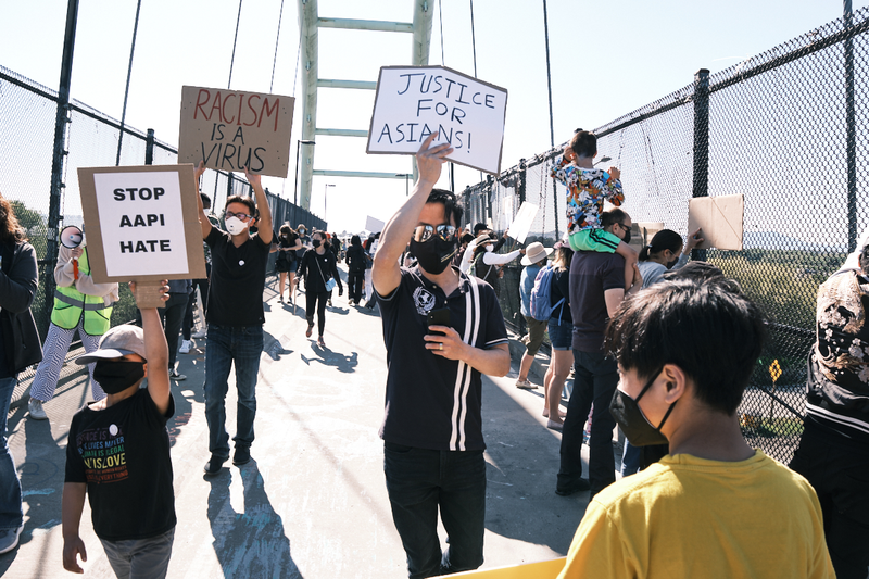 The Asian American and Pacific Islander Youth Rising movement holds a demonstration in the Aquatic Park to raise awareness toward prevention of hate and violence towards people of asian decent, March 28, 2021 Photo: Pete Rosos