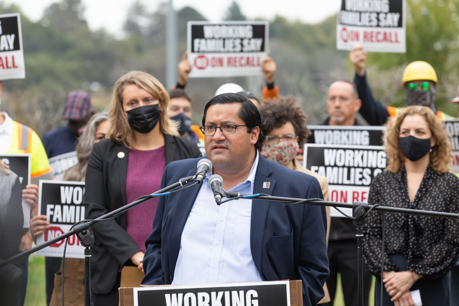 Berkeley Mayor Jesse Arreguin speaking at the Working Families Against the Recall press conference urging voters to say no on the Governor Newsom recall election.